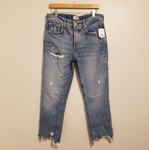 "Free People ""We The Free"" Distressed Cropped Jean"